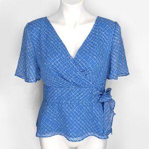 Covington Flowy Bow Tie Side Print Blouse Top 6